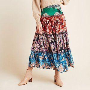 ANTHROPOLOGIE Anarosa Tiered Maxi Skirt